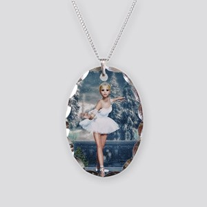 Snow Princess Nutcracker Balle Necklace Oval Charm